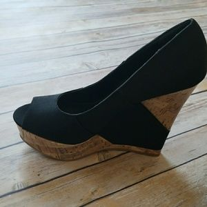 Mossimo Black Peep-Toe Wedge Sandals
